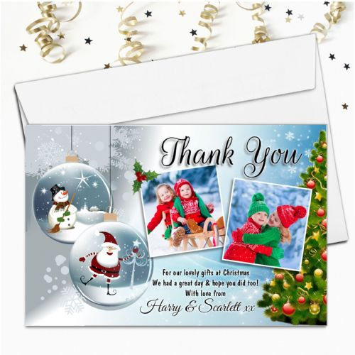10 Personalised Christmas Xmas Gift Thank you PHOTO Cards Notes N59